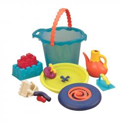 Большое ведро игровой набор для песка B.Toys (Battat), 10 деталей голубой, фото , изображение 3
