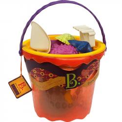 Большое ведерко и игровой набор для песка B.Toys (Battat), 11 деталей оранжевый, фото , изображение 2