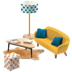 DJECO Мебель для кукольного дома Оранжевая гостиная, фото