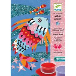 DJECO Набор цветного песка Радужные рыбки 08661, фото