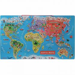 Карта мира с магнитными пазлами Janod, 92 элемента, русский язык, фото