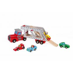 J08572 Автовоз с 4 гоночными машинками (дерево), фото , изображение 4