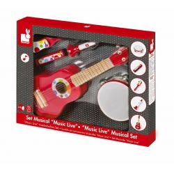 J07626 Набор музыкальных инструментов,красный (гитара, бубен, губная гармошка, дудочка, трещетка), фото , изображение 2