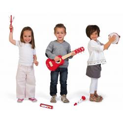 J07626 Набор музыкальных инструментов,красный (гитара, бубен, губная гармошка, дудочка, трещетка), фото