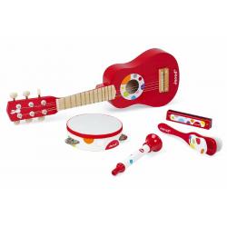 J07626 Набор музыкальных инструментов,красный (гитара, бубен, губная гармошка, дудочка, трещетка), фото , изображение 3
