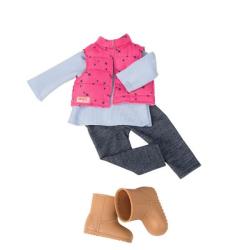 Комплект одежды для куклы с дутой жилеткой и джеггинсами, фото