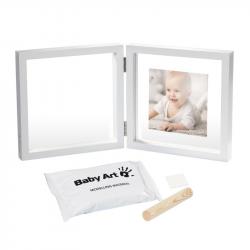 Рамочка двойная прозрачная Baby Art «Baby Style» с отпечатком, белая , фото , изображение 2