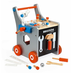 Тележка-каталка Janod «Brico'Kids» с набором магнитных инструментов: 25 аксессуаров , фото