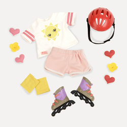 Комплект одежды для куклы с роликовыми коньками, фото
