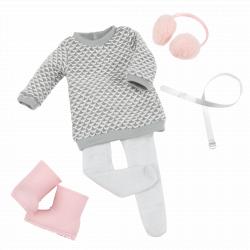 """Комплект одежды для куклы """"Зимний стиль"""" с вязанным платьемКомплект одежды для куклы """"Зимний стиль"""", фото"""