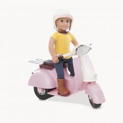 Скутер со шлемом для куклы 46 см; розовый, фото , изображение 3