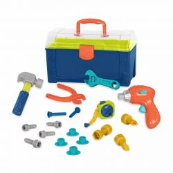 Набор игрушечных строительных инструментов в контейнере, фото