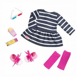 """Комплект одежды для куклы """"Для похода в кино"""" с попкорном, фото"""