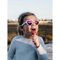 С/з очки Babiators Hearts Влюбляшки (Sweethearts). Белые. Розовые зеркальные. Junior (0-2). Арт. LTD, фото