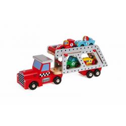 J08572 Автовоз с 4 гоночными машинками (дерево), фото