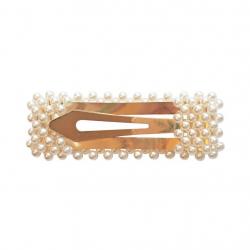 """01-PC-06 Заколка клик-клак с жемчугом, прямоугольная, коллекция """"Pearl"""", фото , изображение 2"""