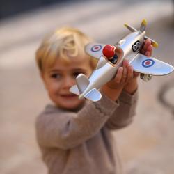 485 Игрушечный самолет, серебристый, фото , изображение 3
