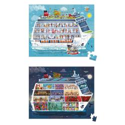"""Набор пазлов """"Морской круиз"""" большой в круглом чемодане: 2 пазла, фото"""