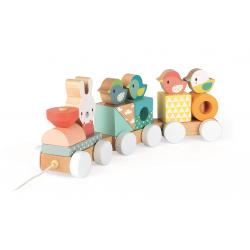 """Каталка на веревочке """"Поезд с животными""""; серия Скандинавские мотивы, фото , изображение 6"""