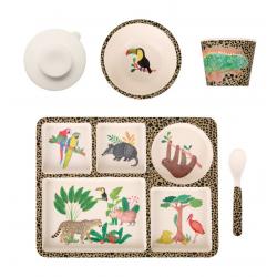 """P-MAE-YD020 Набор бамбуковой посуды """"Джунгли"""", 5 предметов, фото"""