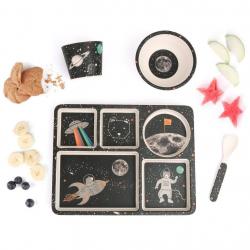 """P-MAE-YD025 Набор бамбуковой посуды """"Космические приключения"""", 5 предметов, фото"""