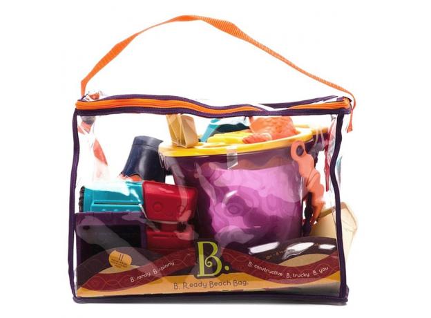 Игровой набор для песка в пляжной сумке B.Toys (Battat) красный, фото , изображение 2