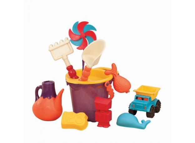 Игровой набор для песка в пляжной сумке B.Toys (Battat) красный, фото , изображение 3