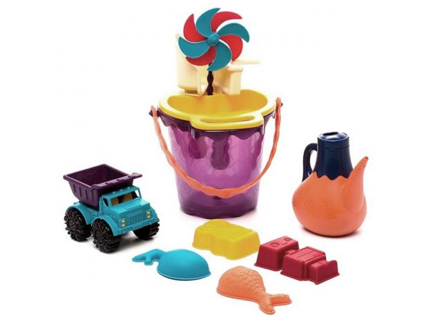 Игровой набор для песка в пляжной сумке B.Toys (Battat) красный, фото