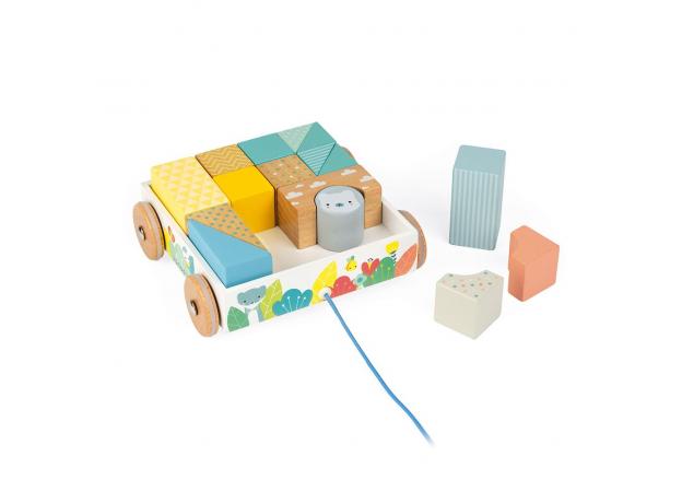 Каталка на веревочке Janod «Тележка с блоками»; серия Скандинавские мотивы , фото , изображение 5