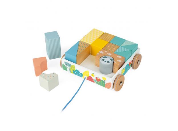Каталка на веревочке Janod «Тележка с блоками»; серия Скандинавские мотивы , фото , изображение 8