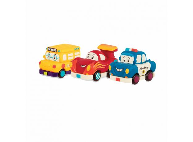 Набор инерционных машинок B.Toys (Battat) «Фредди Зум, Автобус Гас, Офицер Лоули»: 3 шт., фото