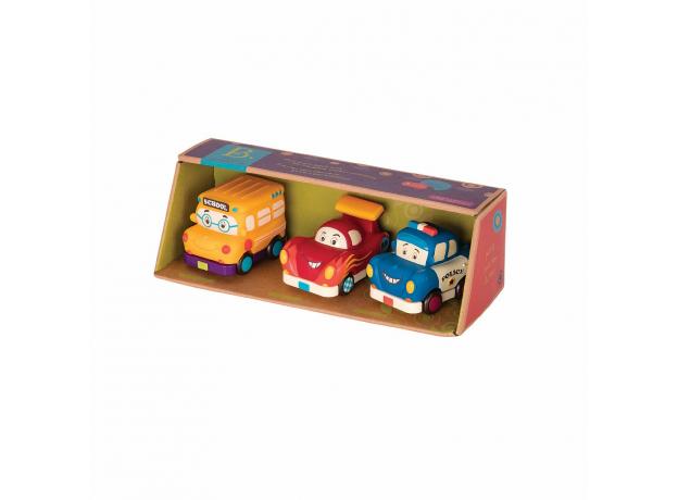 Набор инерционных машинок B.Toys (Battat) «Фредди Зум, Автобус Гас, Офицер Лоули»: 3 шт., фото , изображение 2