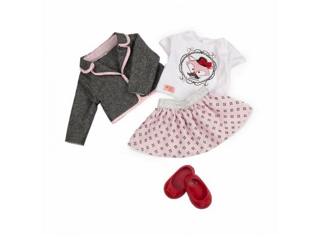 Одежда для куклы 46 см Our Generation (жакет, майка с рисунком, юбка в горох, балетки), фото , изображение 3