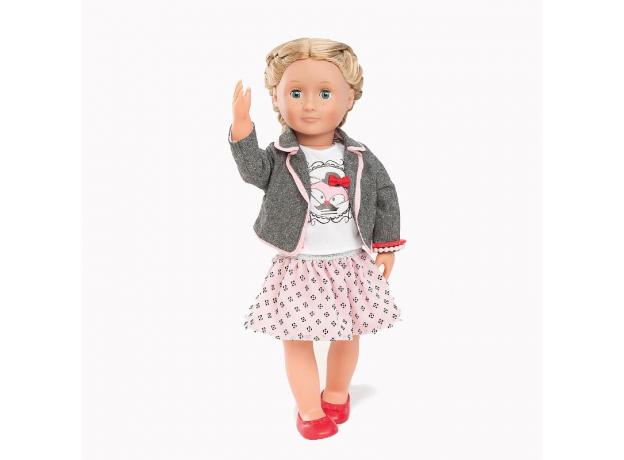 Одежда для куклы 46 см Our Generation (жакет, майка с рисунком, юбка в горох, балетки), фото
