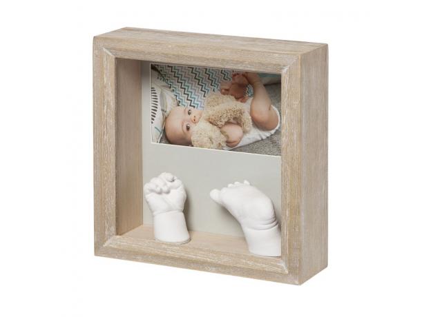 Рамочка с объёмными слепками и фотографией Baby Art «Классика»; белёное дерево, фото