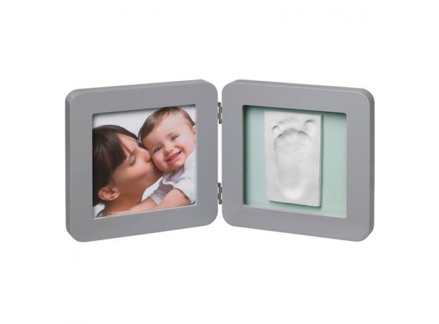 Рамочка двойная Baby Art серая, подложка коралловая/бирюзовая, фото