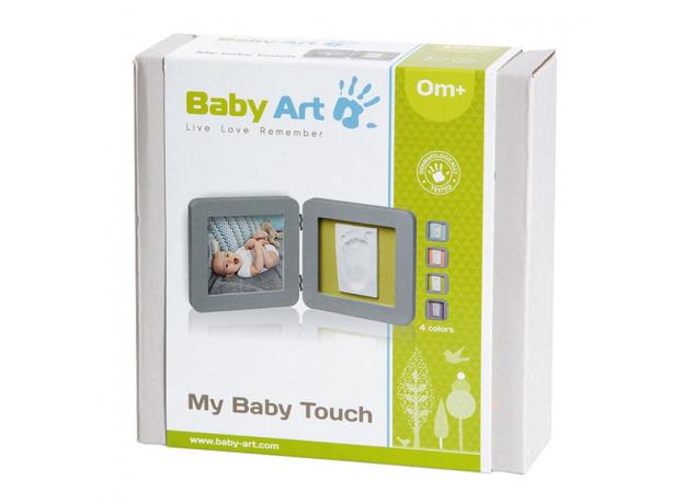 Рамочка двойная Baby Art серая, подложка коралловая/бирюзовая, фото , изображение 2