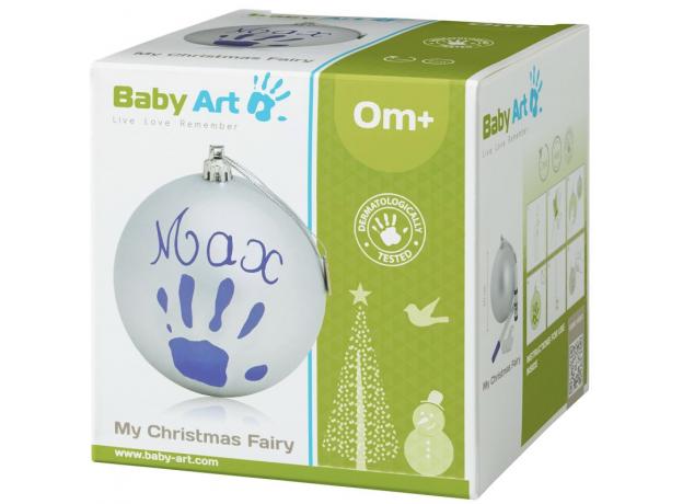 Новогодний шар Baby Art с отпечатком серебрянный, фото , изображение 2