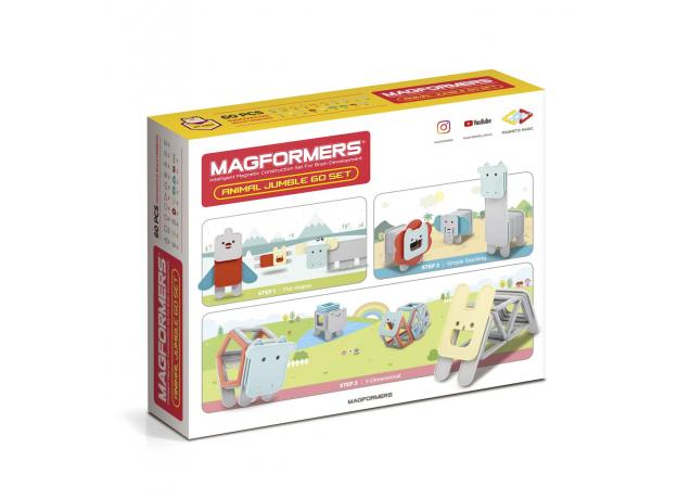 Магнитный конструктор MAGFORMERS 702015 Jumble 60 Set, фото , изображение 2
