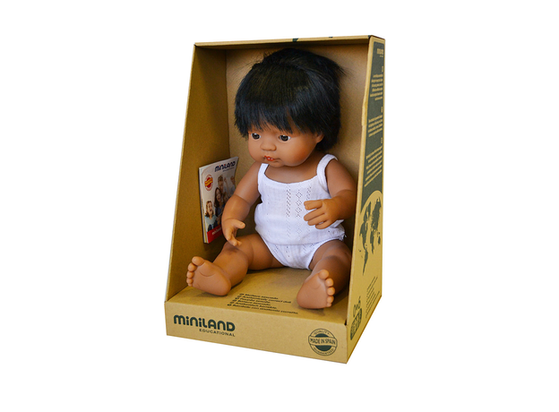 31157 MINILAND BABY DOLL LATINOAMERICAN BOY 38 CM. GIFT BOX., фото