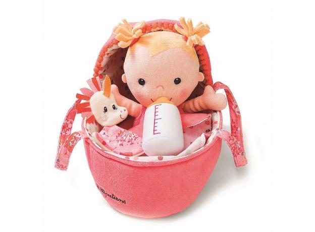 Мягкая куколка в переноске с игрушкой Lilliputiens, фото