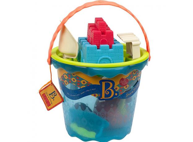 Большое ведро игровой набор для песка B.Toys (Battat), 10 деталей голубой, фото , изображение 2