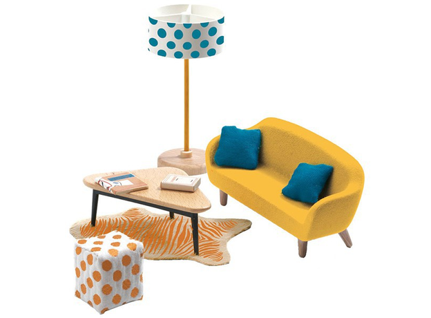 DJECO Мебель для кукольного дома Оранжевая гостиная 07822, фото
