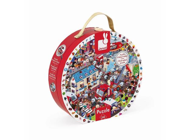 Большой пазл в круглом чемоданчике Janod «Пожарные», 208 элементов, фото , изображение 2