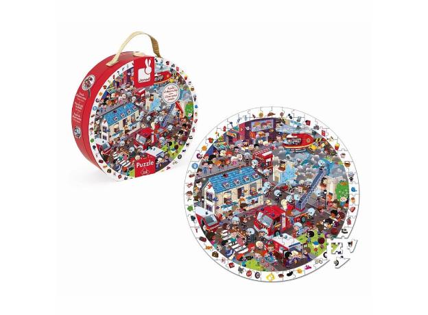 Большой пазл в круглом чемоданчике Janod «Пожарные», 208 элементов, фото , изображение 3