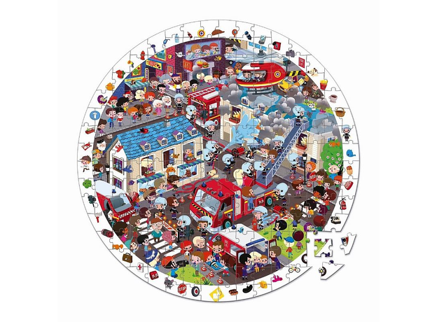 Большой пазл в круглом чемоданчике Janod «Пожарные», 208 элементов, фото