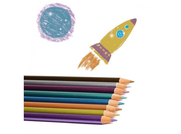 DJECO Набор карандашей металлик, 12 шт. 09753, фото , изображение 3