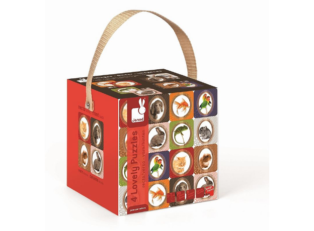 Пазл двухсторонний Janod в коробке «Домашние питомцы» 4 пазла по 16, 20, 24, 30 деталей, фото , изображение 2