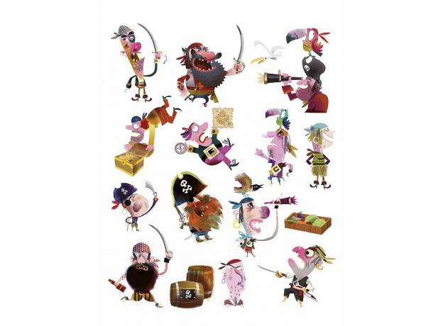 Магнитные стикер на стену Janod «Пираты» 1 большой стикер, 70 магнитов, фото , изображение 4