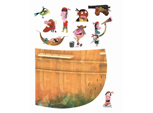 Магнитные стикер на стену Janod «Пираты» 1 большой стикер, 70 магнитов, фото , изображение 5